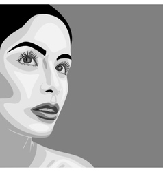 Monochrome beauty woman with open eyes vector
