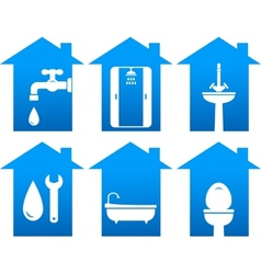 Plumbing set of bathroom icons vector