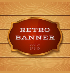 Red banner on wooden background vector
