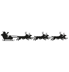 santa riding dog sled ride black silhouette of vector image