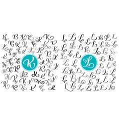 set letters k l hand drawn flourish vector image vector image