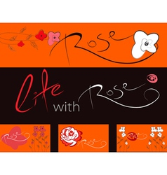 Set of banners with flowers vector image vector image