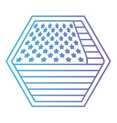 Shield in hexagon shape with flag united states of vector