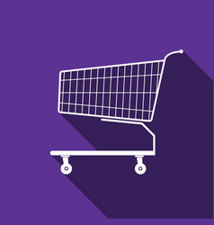 shopping cart icon with long shadow vector image vector image