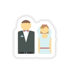 stylish paper sticker on white background bride vector image vector image
