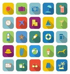 Summer color icons with long shadow vector image vector image