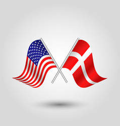 two crossed american and danish flags on stick vector image vector image