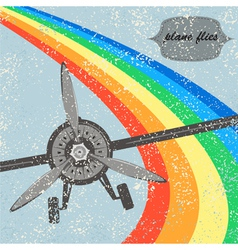 Vintage flight plane background vector