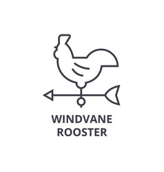Windvane rooster line icon outline sign linear vector