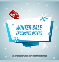 winter sale origami banner vector image vector image