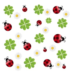 Clover leaf with ladybird seamless pattern vector