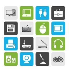 Flat computer equipment and periphery icons vector