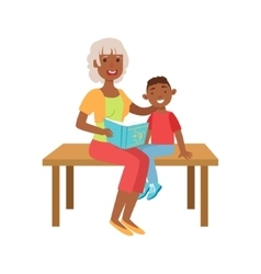 Grandmother and grandson reading book part of vector