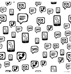 smart phone sms and email communications seamless vector image