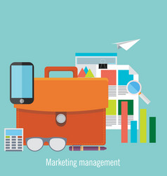 Set flat marketing management vector