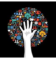 Social media networks hand concept tree vector