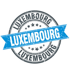 Luxembourg blue round grunge vintage ribbon stamp vector