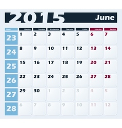 Calendar 2015 june design template vector