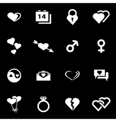 White love icon set vector