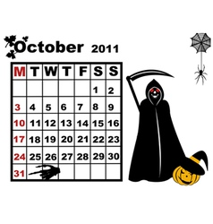 October calendar vector
