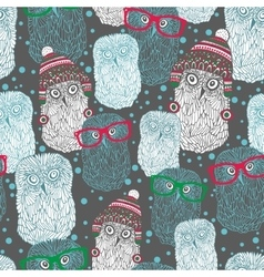 Seamless pattern with hand drawn owls in vintage vector