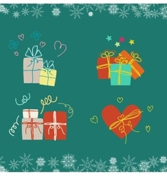 Christmas gifts set of four gifts vector
