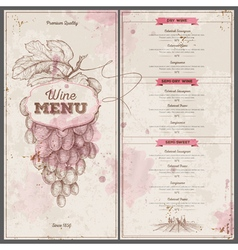 Vintage wine menu design document template vector