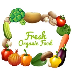 Border design with fresh vegetables vector