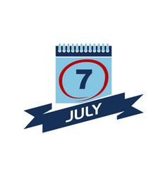 7 july calendar with ribbon vector