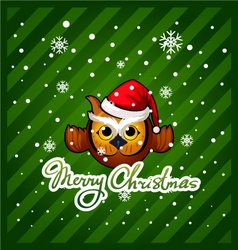 Owl with a wish of merry christmas vector