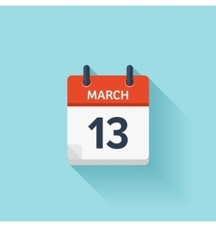 March 13 flat daily calendar icon date vector
