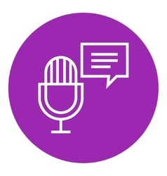 Microphone with speech square line icon vector