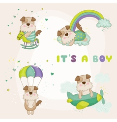 Baby dog set - baby shower or arrival card vector