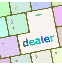 Dealer button on keyboard with soft focus vector