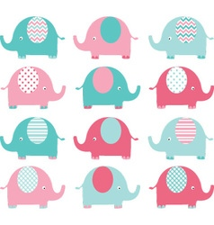 Pink ang aqua cute elephant set vector