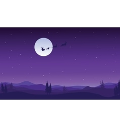 Silhouette of santa sleigh flying at night vector