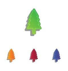 New year tree sign colorfull applique icons set vector