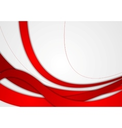 Abstract red and grey wavy corporate background vector