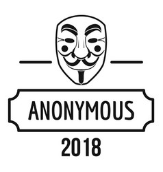 Anonymous logo simple black style vector