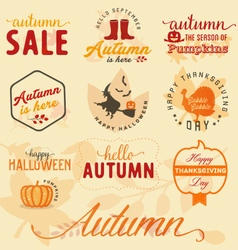 Autumn design elements and badges in vintage style vector