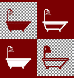 Bathtub sign bordo and white icons and vector