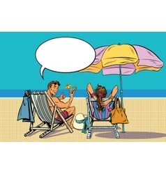 beautiful couple man and woman resting on the vector image vector image