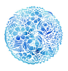 Beautiful flowers and plants in the circle vector