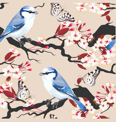 bird on cherry branch seamless vector image vector image