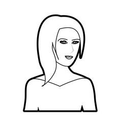 Black silhouette cartoon half body woman with vector