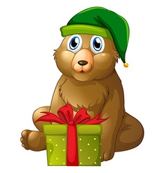 Christmas theme with bear and present box vector