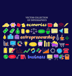 Colorful infographic business economic icons set vector