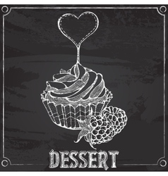 Cupcakes with raspberries chalk drawing vector