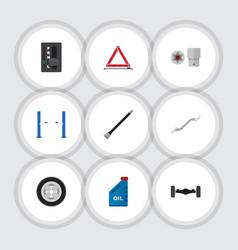 Flat icon auto set of auto jack turnscrew petrol vector