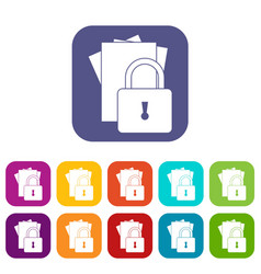 folders with padlock icons set vector image